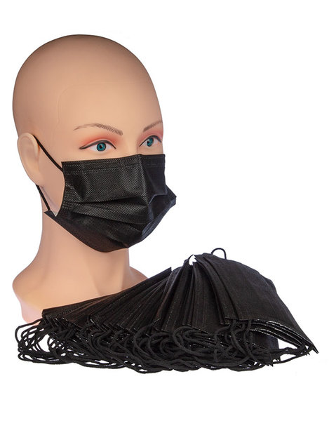 OP Einweg-Gesichtsmaske schwarz - Packung mit 50 Stück